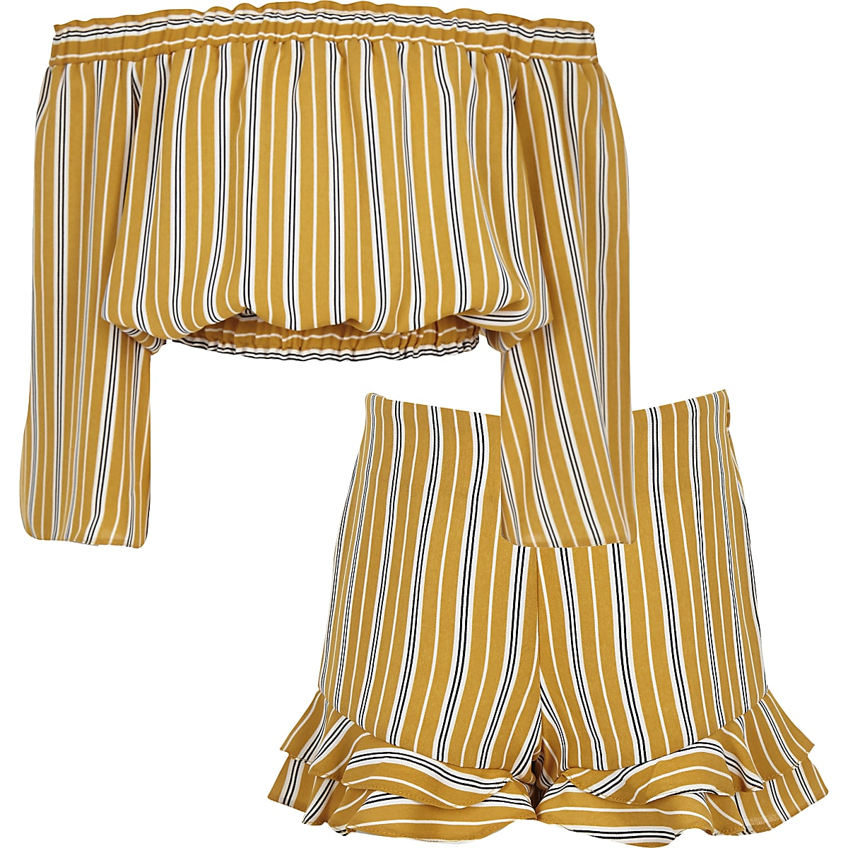 Girls yellow stripe bardot top outfit