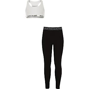 Girls white racer crop top outfit