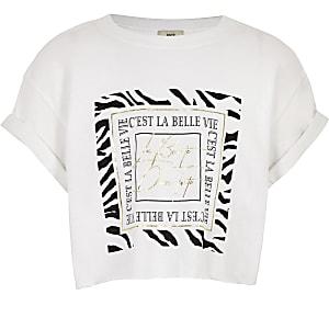 Wit T-shirt met 'La belle vie'-print voor meisjes