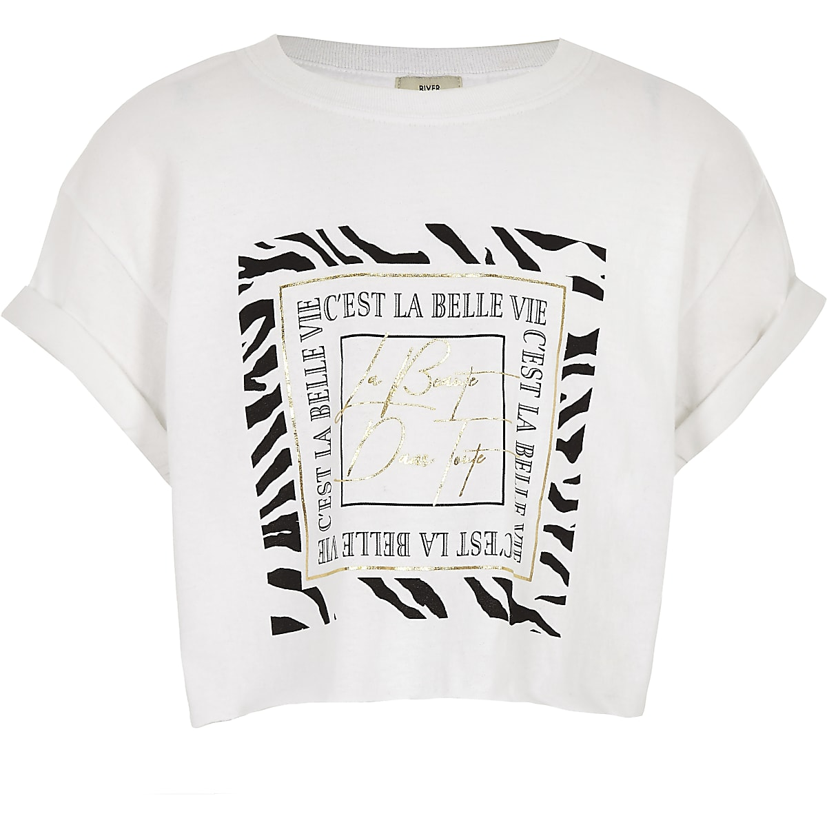 Girls white 'La belle vie' T-shirt