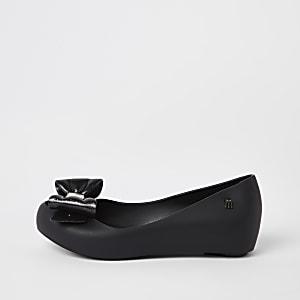 Mini Mellisa – Ballerines noires avec nœud pour fille