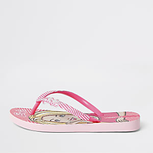 Girls Ipanema  pink Barbie flip flops