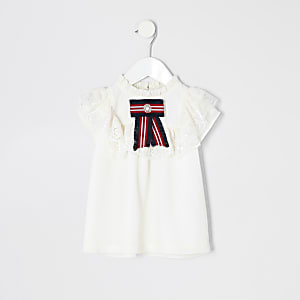 Mini girls white lace bow top
