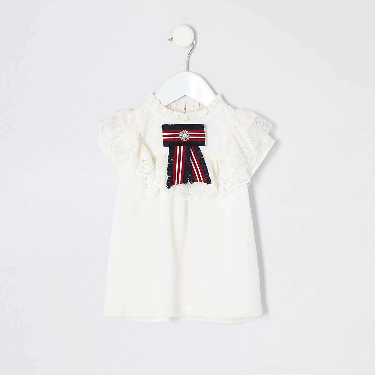 Mini girls white lace bow top