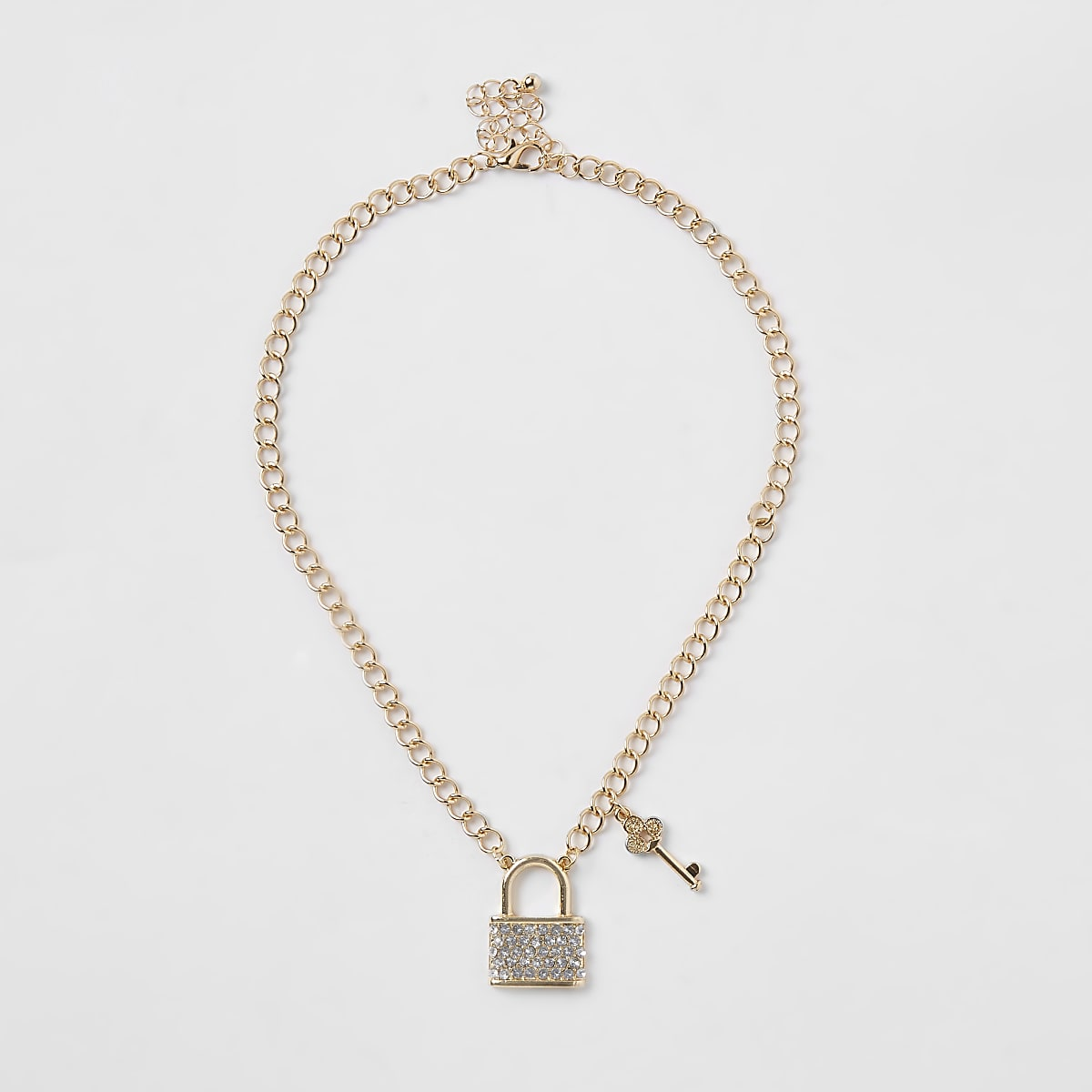 Girls gold tone chunky chain lock necklace