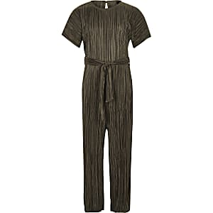 Girls khaki tie waist plisse jumpsuit
