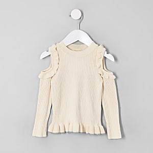 Mini girls cream cold shoulder jumper