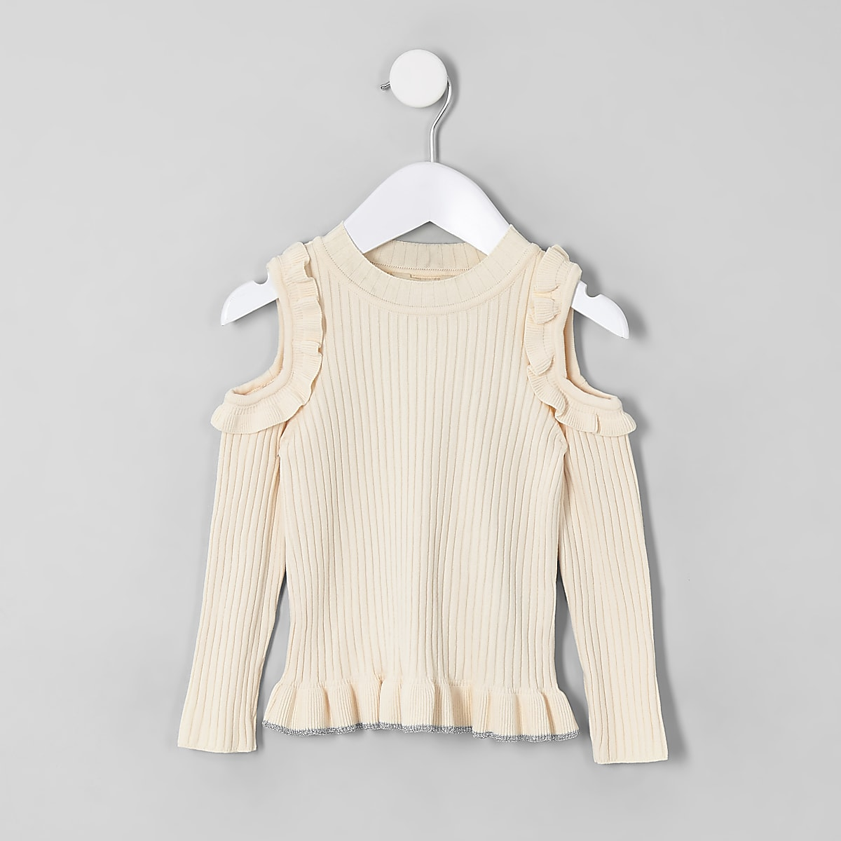 Mini girls cream cold shoulder jumper