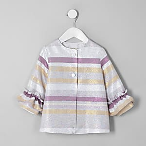 Mini girls pink metallic stripe frill coat