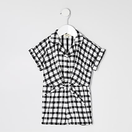 Mini girls black gingham playsuit