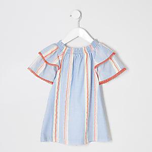 Robe trapèze rayée bleue pour mini fille