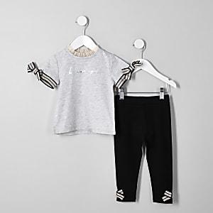 Mini girls grey 'Be amazing' T-shirt outfit