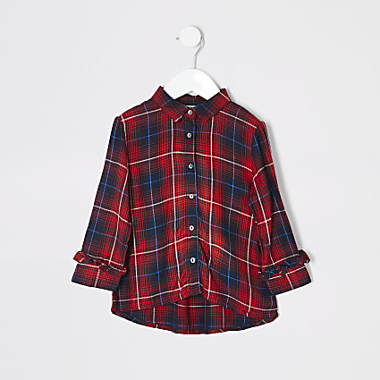 Mini girls tartan print shirt