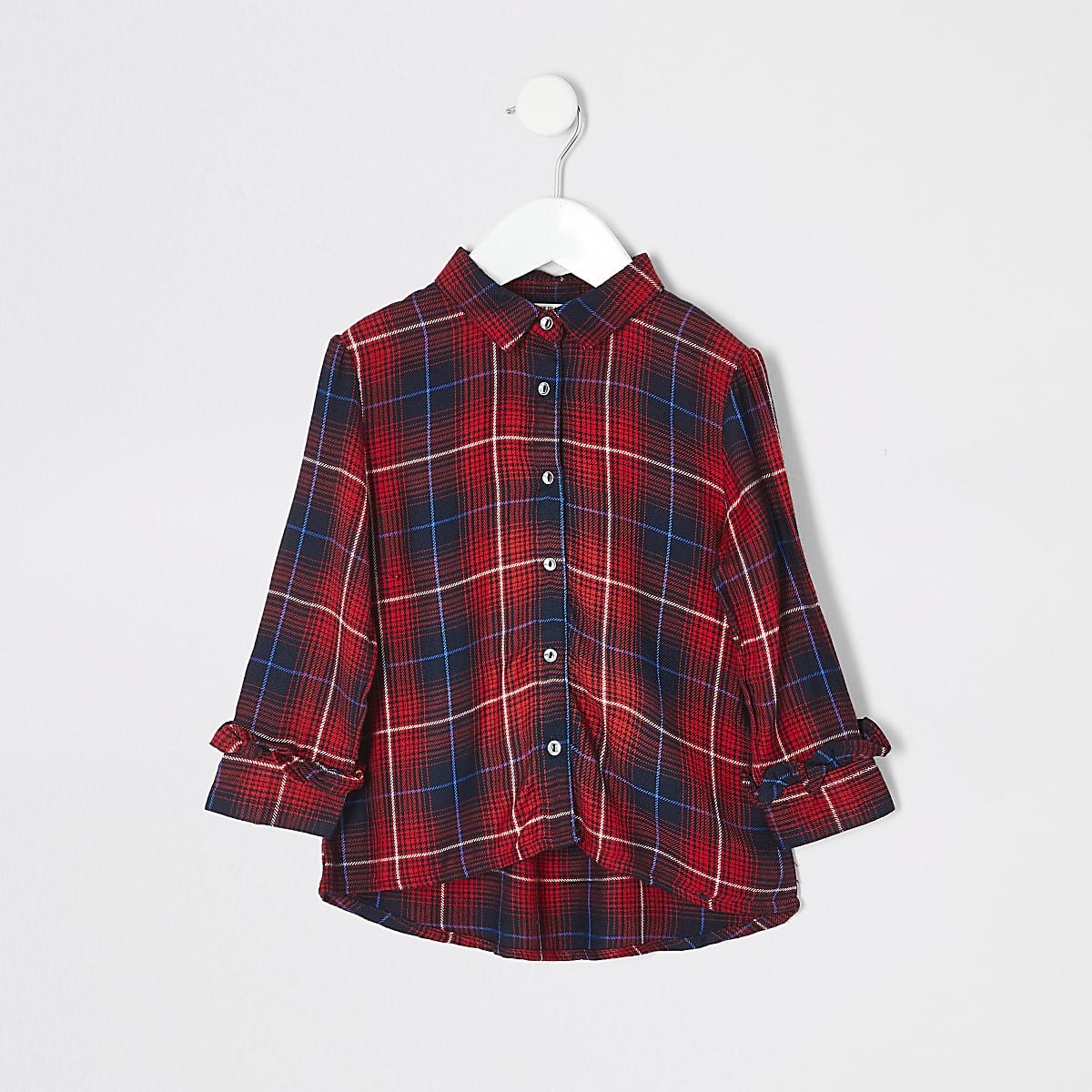 Mini - Geruit overhemd met print voor meisjes