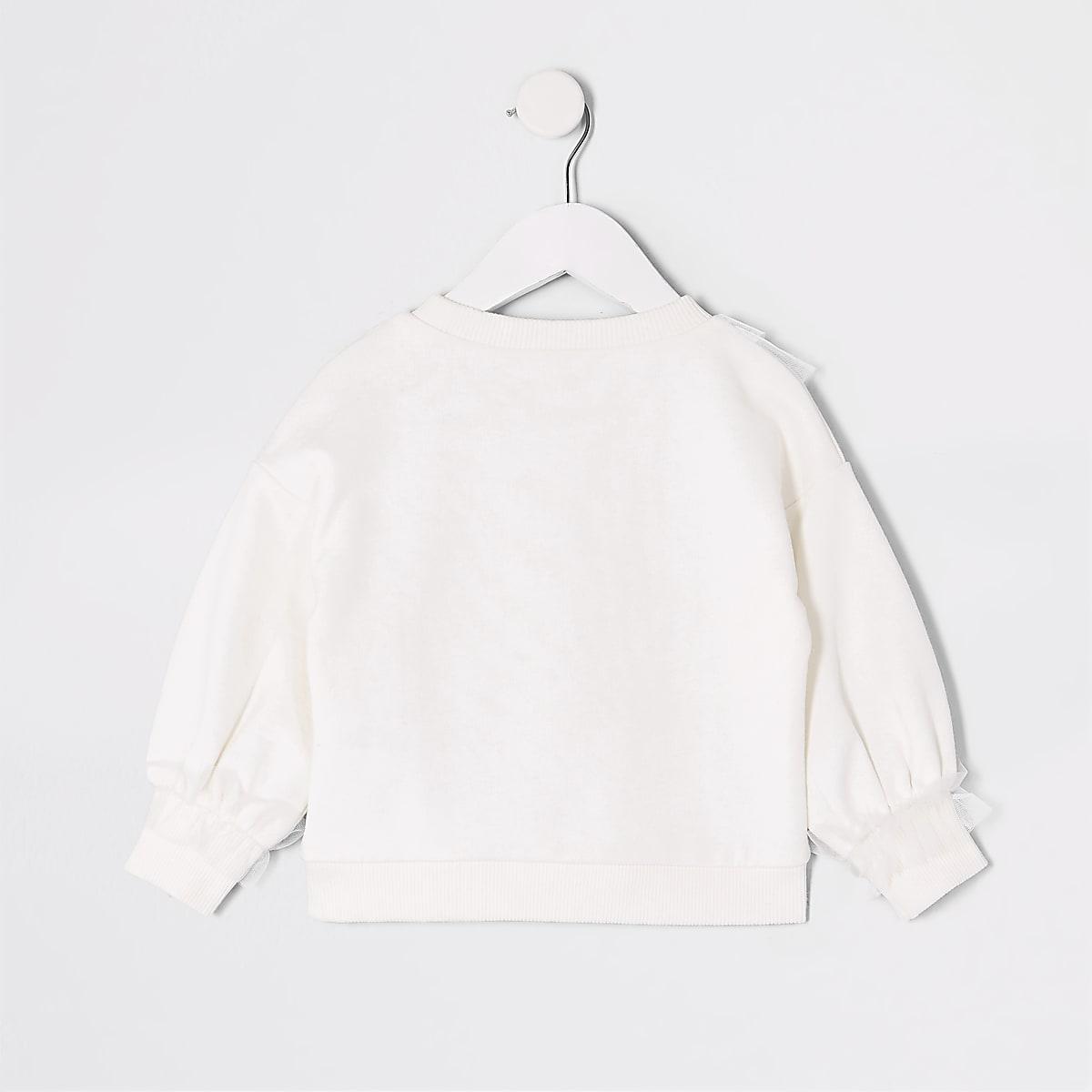 087a4cddd4 Mini girls white bow mesh trim sweatshirt - Baby Girls Tops - Mini ...