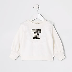 Mini girls white bow mesh trim sweatshirt
