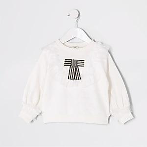 Weißes Sweatshirt mit Mesh-Einsatz