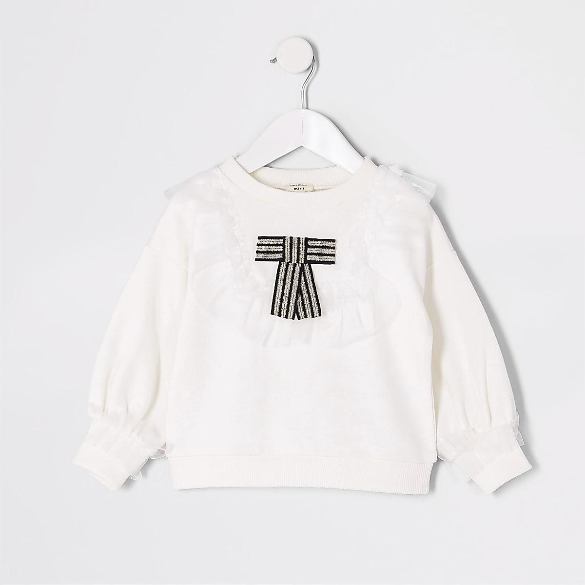 Mini - Wit sweatshirt met strik en mesh zoom voor meisjes