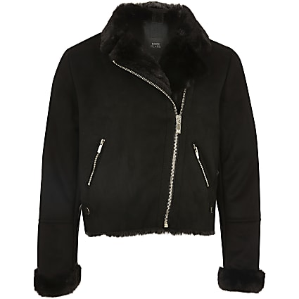 Girls black faux suede zip biker jacket