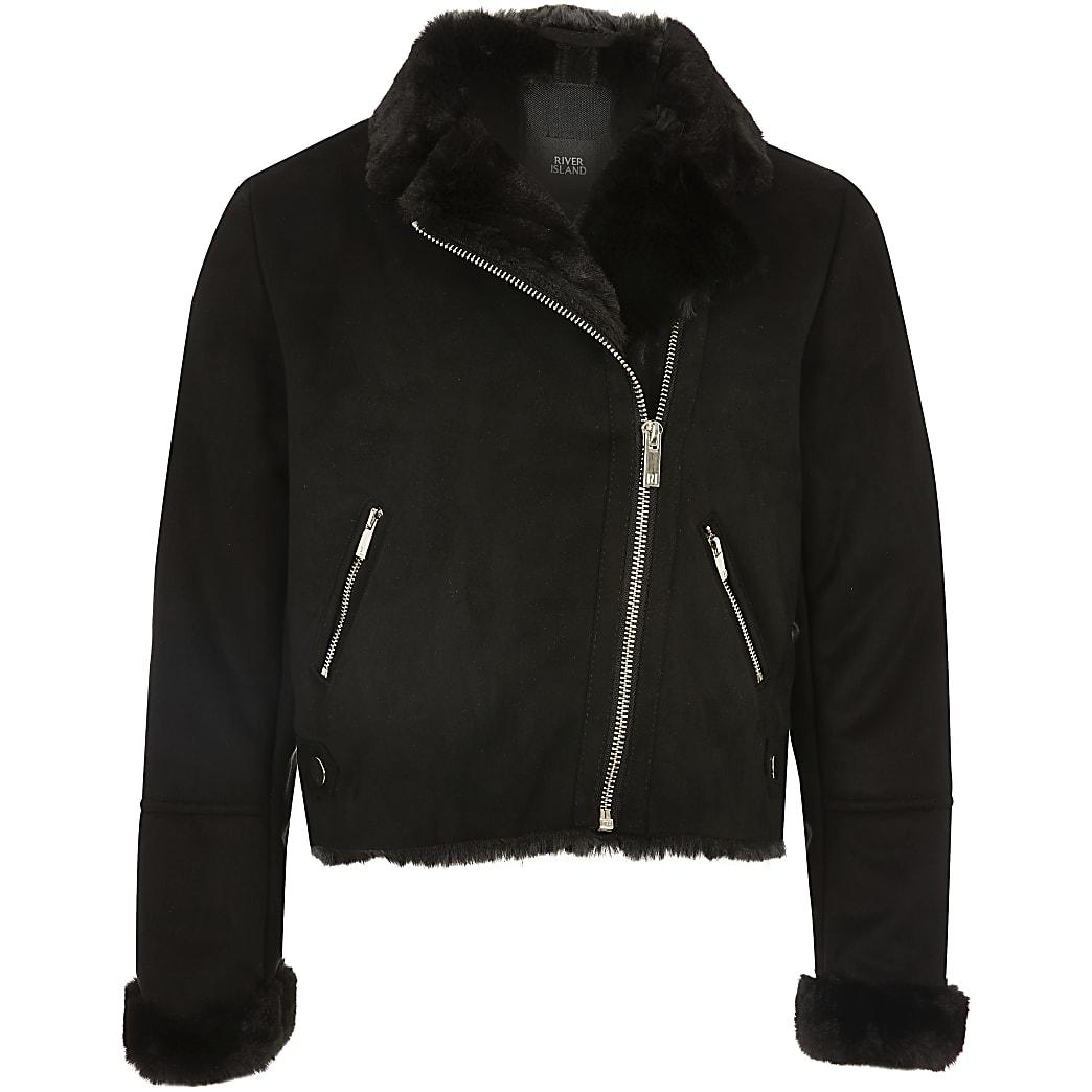 Girls black faux suede zip biker jacket