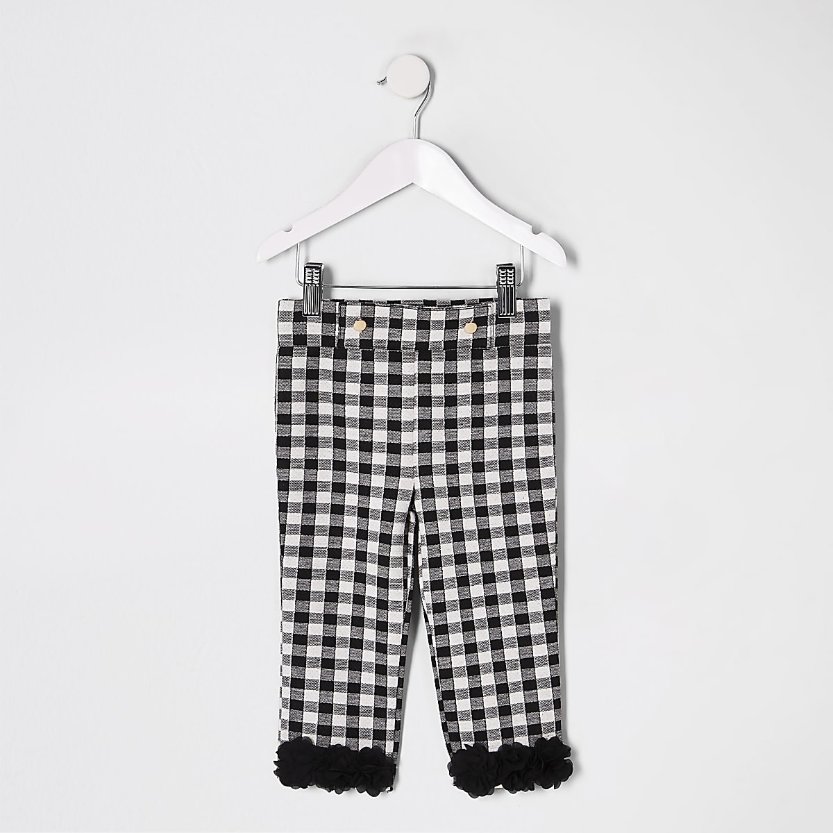 Mini girls black check flower ruffle leggings