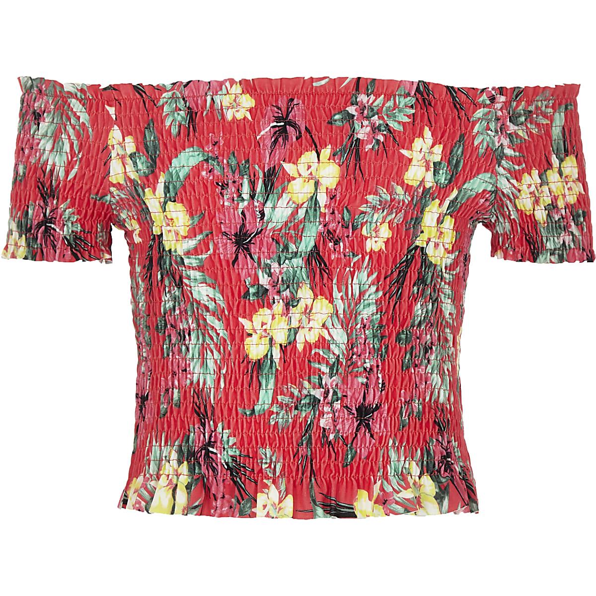 Girls pink tropical shirred bardot top