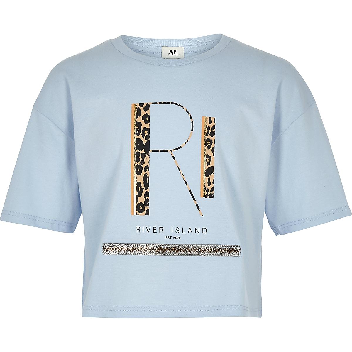 Girls blue RI leopard print T-shirt