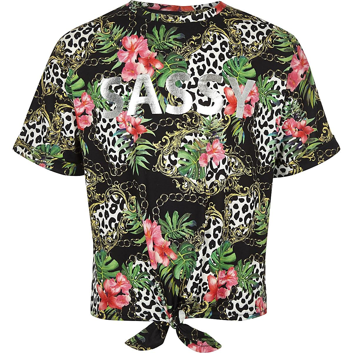 Girls black chain print 'Sassy' T-shirt