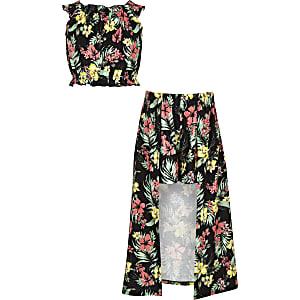 Ensemble jupe-culotte imprimé tropical noire pour fille