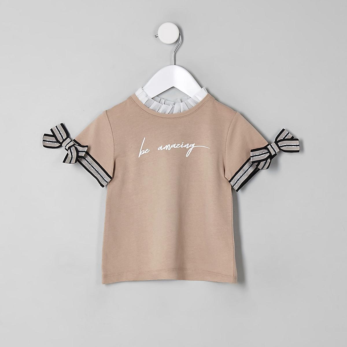Mini girls beige 'be amazing' T-shirt