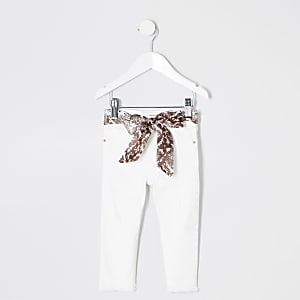 Molly – Jegging blanc ceinturé mini fille