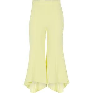 Gele uitlopende broek met ruches aan de zoom voor meisjes