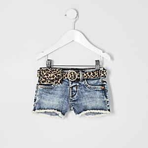 Mini girls blue belted denim shorts