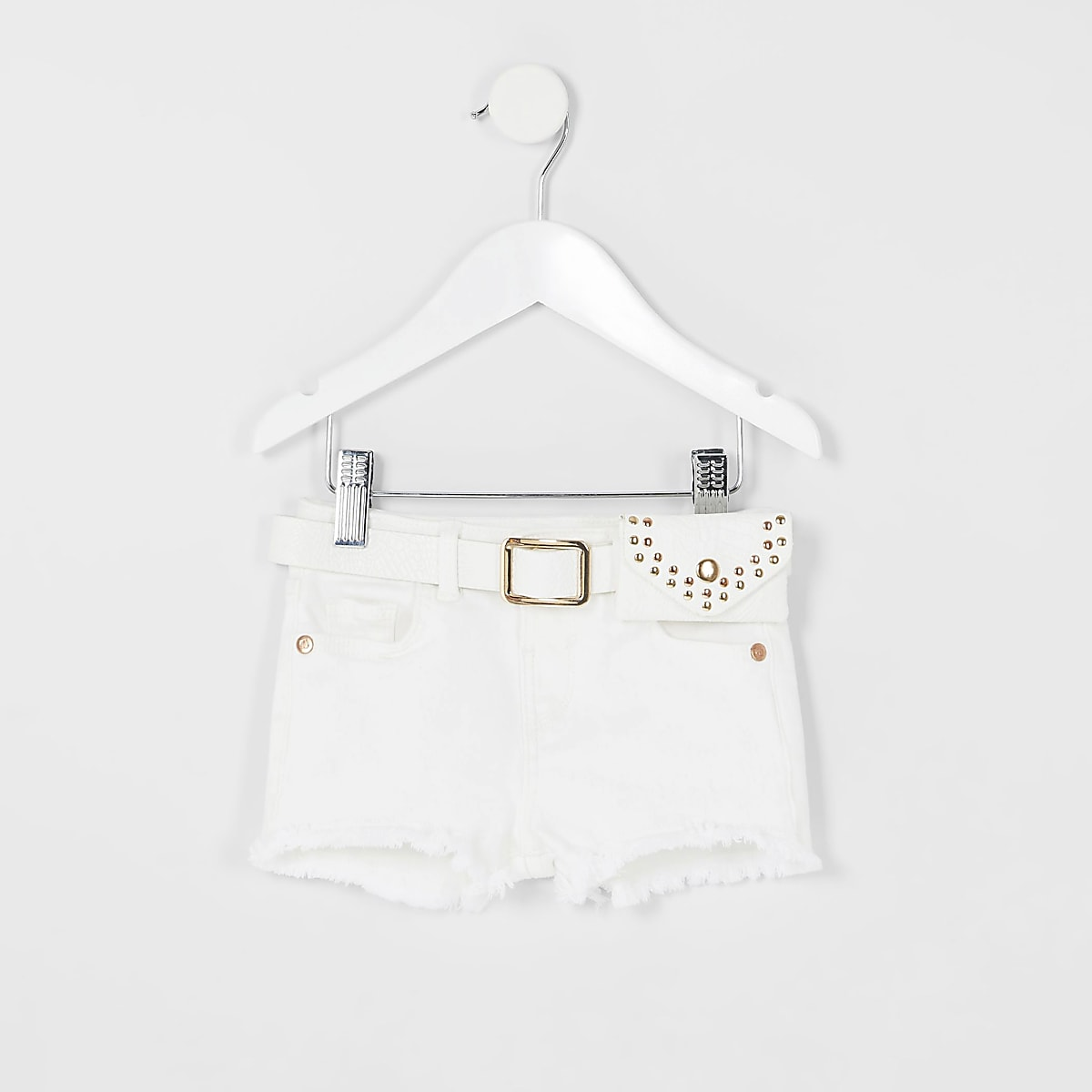 Mini girls white Becca belted denim shorts