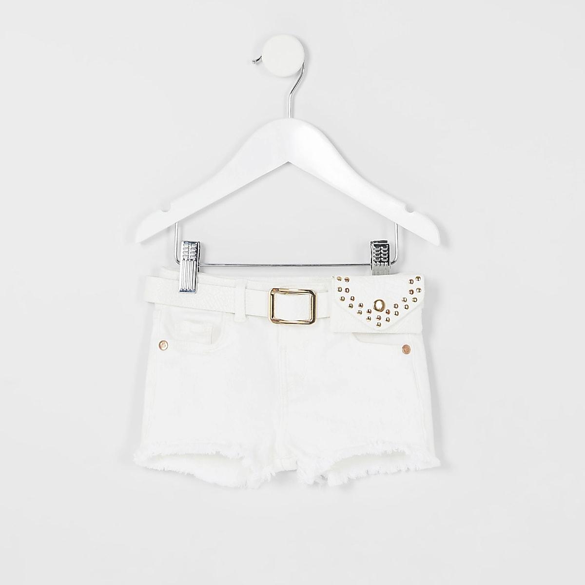 Mini girls white Becca belted denim shorts