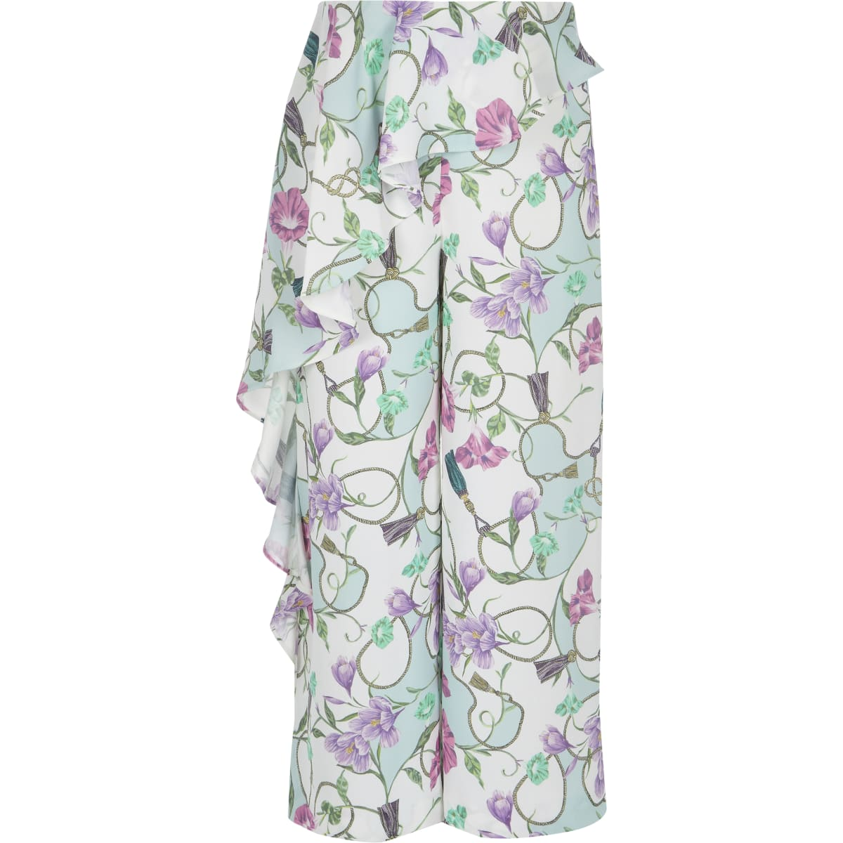 Girls cream floral frill trousers