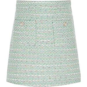 Lichtgroene bouclé rok voor meisjes