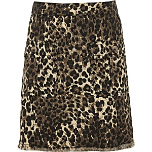 Girls brown leopard print skirt