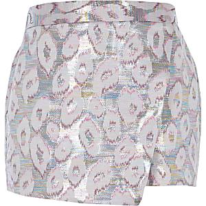 Jupe-culotte imprimé léopard rose métallisée pour fille