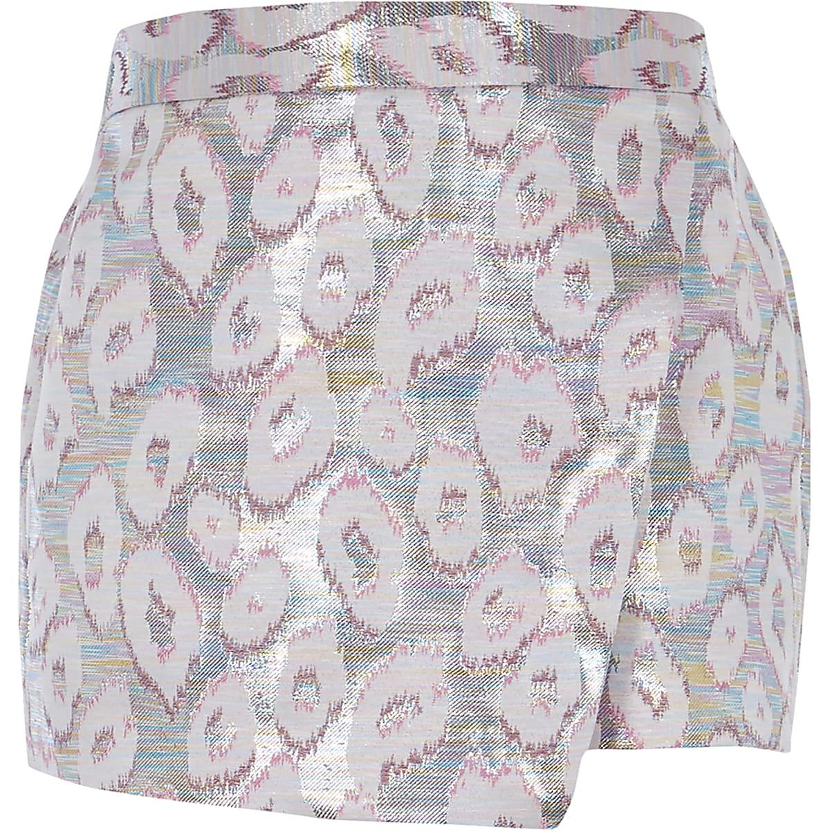 Girls pink leopard print metallic skort