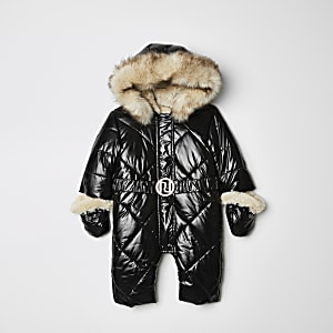 Girls black high shine hooded snowsuit