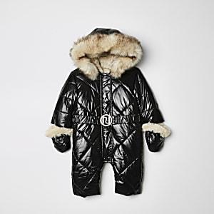 Combinaison de ski noire à capuche ultra-brillante pour fille