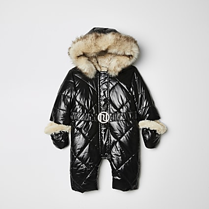 Baby black high shine hooded snowsuit