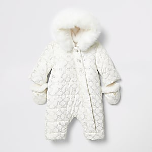 Baby cream monogram padded snowsuit