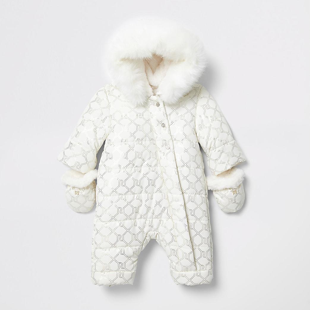 Baby cream monogram padded snowsuit