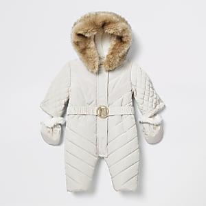 Baby cream padded snowsuit