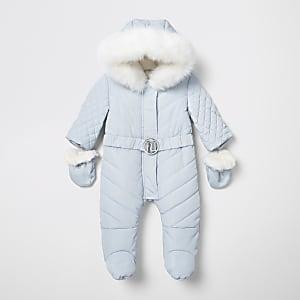 Combinaison de ski matelassée bleue à logo RIavec pieds pour bébé