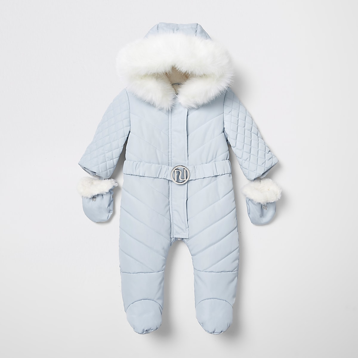 Baby blue RI padded snowsuit with feet