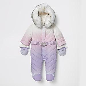 Ombrierter, gefütterter Schneeanzug mit Füßen in Lila für Babys