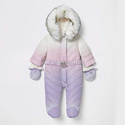 Baby purple ombre padded snowsuit with feet